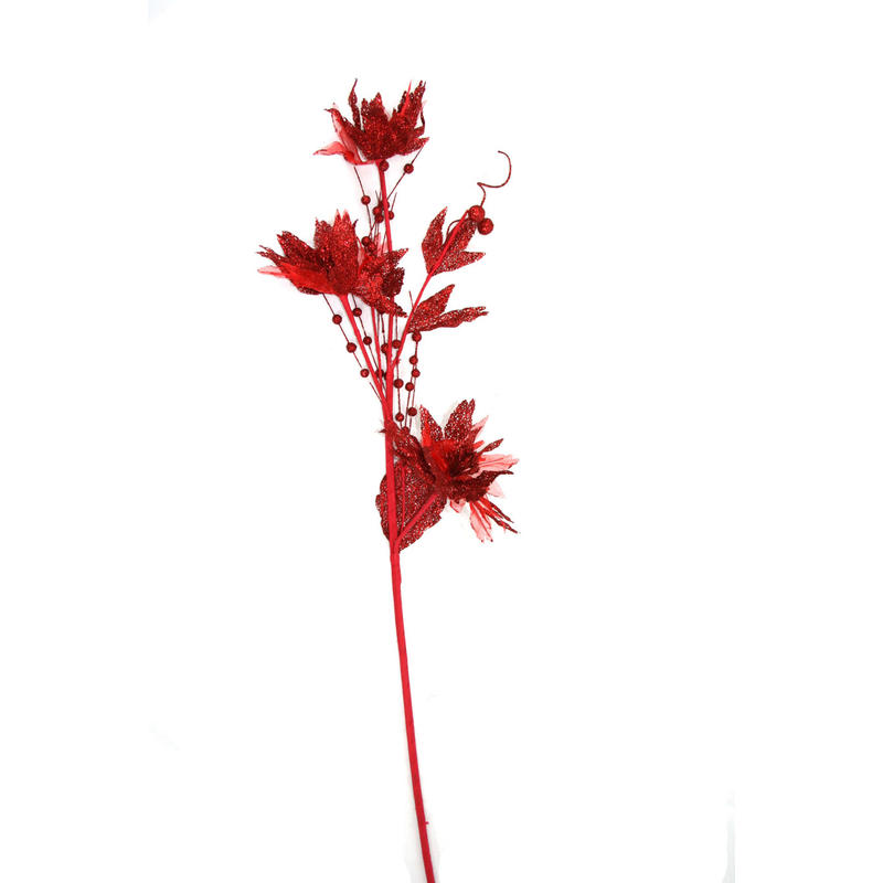 Red Poinsettia Branch